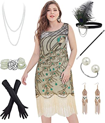 FUNDAISY Vintage Women 1920s Gatsby V Neck Beaded Sequin Flapper Dress with Accessories Set