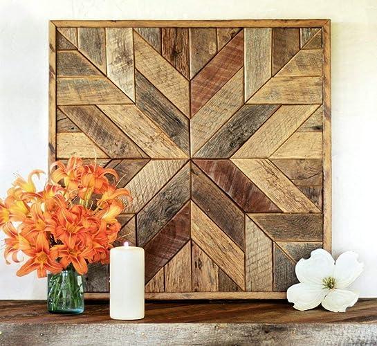 Reclaimed Wood Star Quilt Block Wall Art 26 Inch