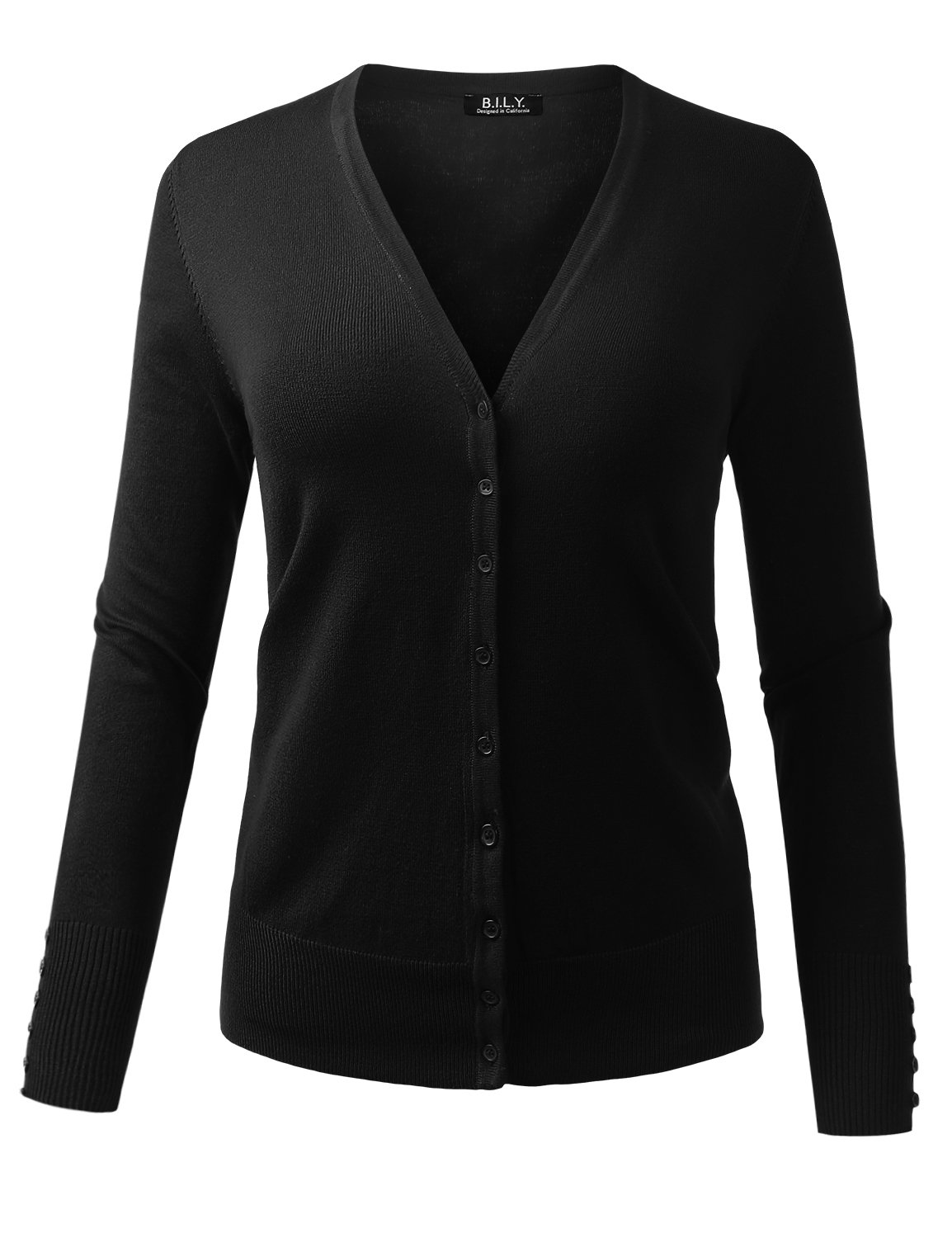 BILY Women's V-Neck Button Down Long Sleeve Classic Knit Cardigan Black Large