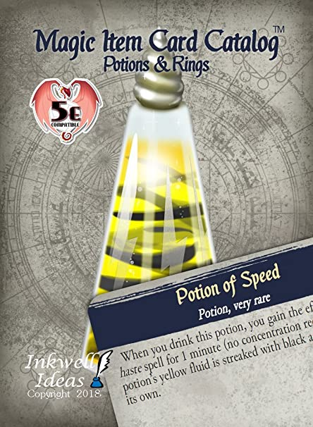 Inkwell Ideas Magic Item Card Catalog (5e): Potions & Rings