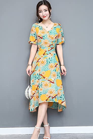 d3f5d25fcf41 Amazon.com   Summer new Women Korean temperament Slim short-sleeved printed chiffon  dress and long sections chiffon dress women for women girl   Beauty