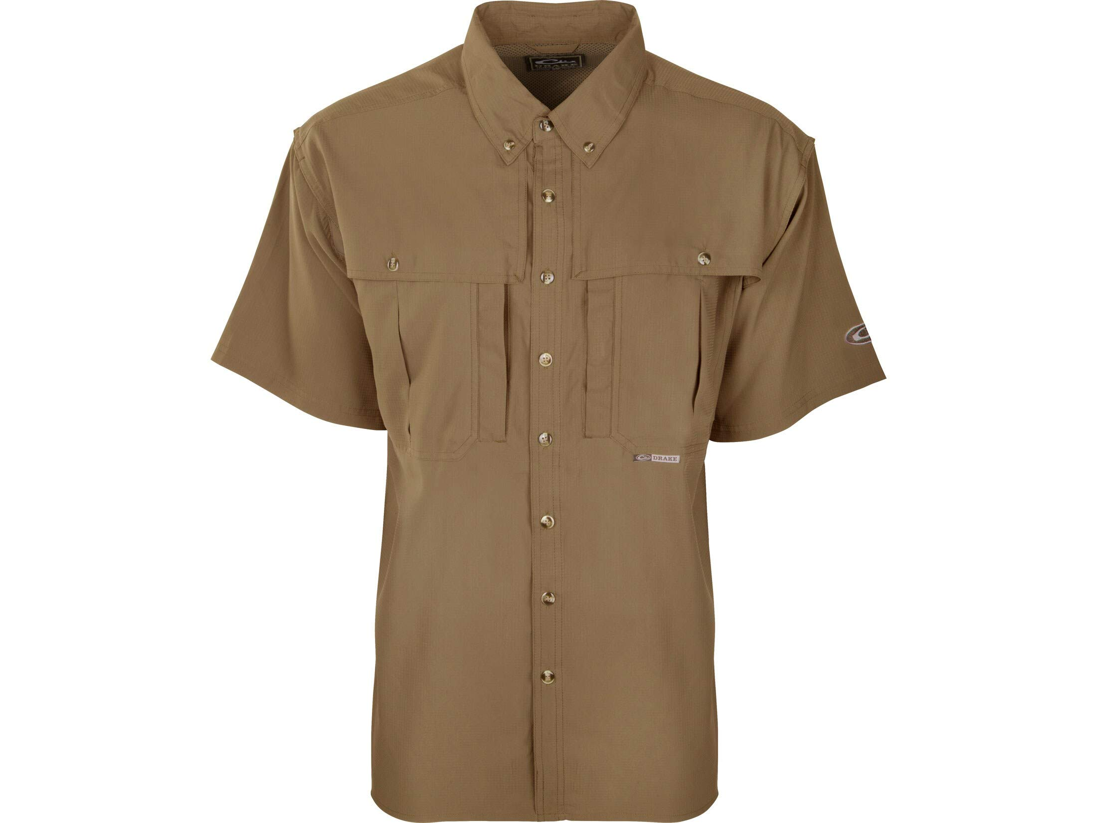 Drake Men's Flyweight Wingshooter's Shirt Short Sleeve Polyester Khaki Medium by Drake