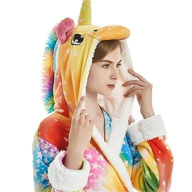 Women Adult Animal Cartoon Colorful Sky Unicorn Bath Robe Flanel Fleece  Hooded Halloween Christmas Cosplay Robe 211762c76