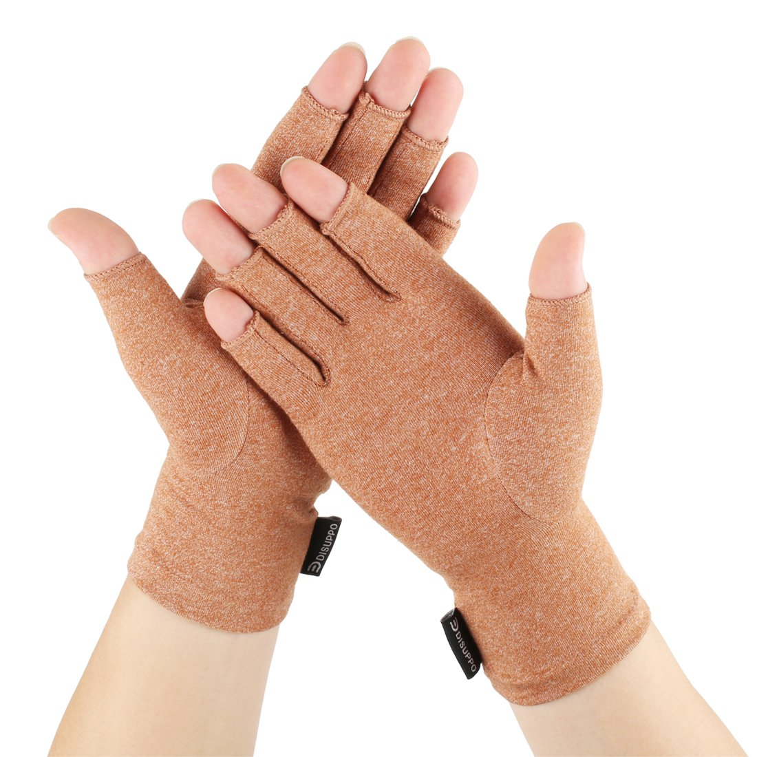 Arthritis gloves Large XL relieve pain from Rheumatoid, RSI,Carpal Tunnel, Compression Gloves Fingerless for Computer Typing and Dailywork, Support for Hands And Joints by DISUPPO (Brown, X-Large)