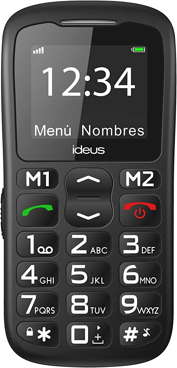 Teléfono Móvil Ideus negro- IM200- para personas mayores con botón ...