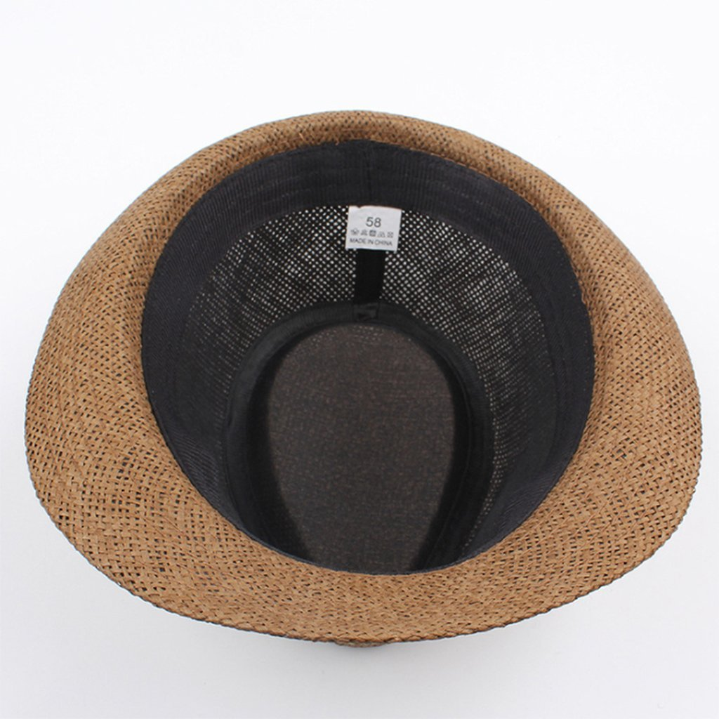 Summer Straw Sun Hat Jazz Beach Men Women Classic Panama Derby Bowler Fedora Cap