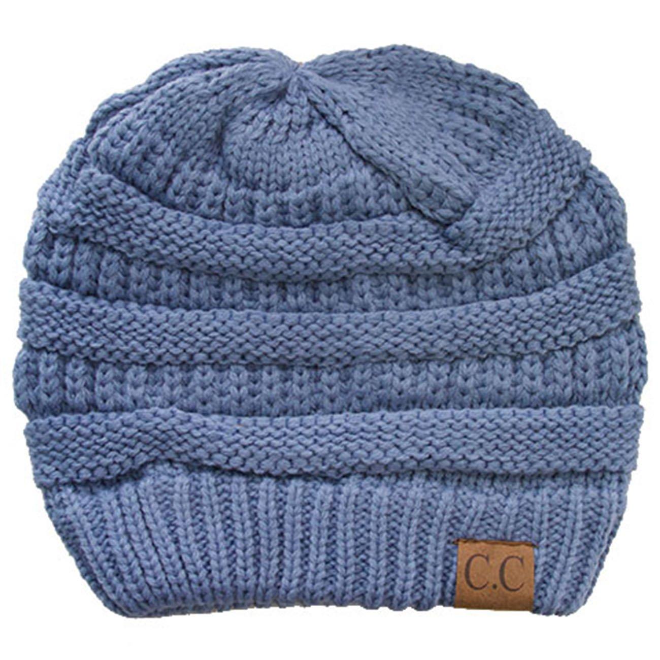 ScarvesMe CC 3pc Set Trendy Warm Chunky Soft Stretch Cable Knit Beanie Scarves Gloves Set (Denim) by ScarvesMe (Image #2)