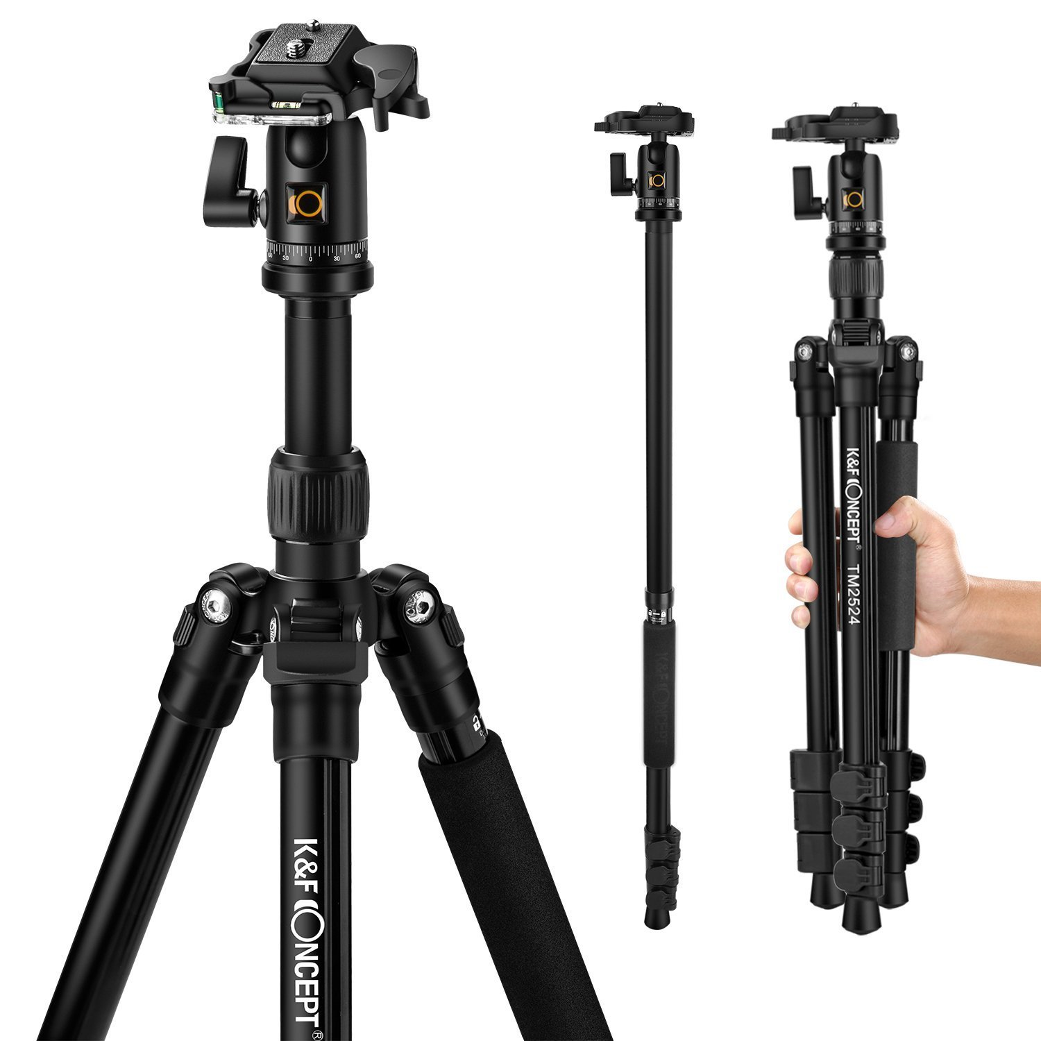 Carbon Fibre Tripod, K&F Concept Professional Portable Camera Tripod Monopod Lightweight Travel Tripod Stand 57.48' with 360° Ball Head,Carring Bag for Canon Nikon Sony DSLR Camera,Load Capacity 26.46lbs Black Shenzhen Zhuoer Photograph CAKF09.033