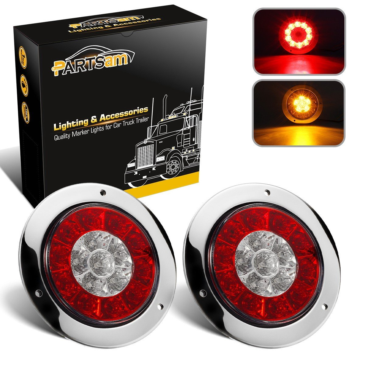 Partsam 4'' inch Round Truck Trailer Led Tail Stop Brake Lights Taillights Running Red and Amber Parking Turn Signal Lights, Sealed Dual Color Round Led Lights w/Miro-reflectors Flange Mount (2Pack)