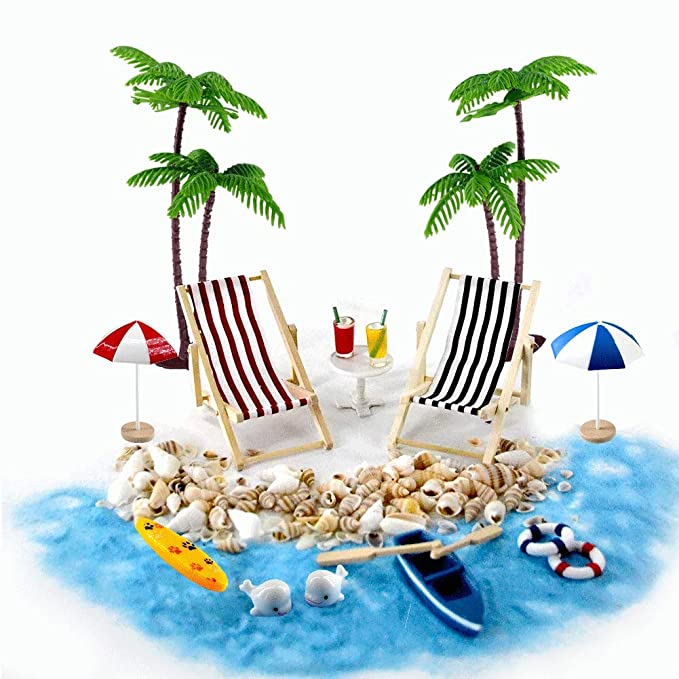 Beach Zen Garden Accessories, Mini Desktop Sandbox Decor, 16 Pcs Miniature Doll House Ornament Kits for DIY Fairy Garden Dollhouse and Plant Decoration