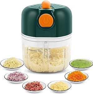 KONKY Food Chopper, Wireless Electric Portable Mini Garlic Chopper, Handheld USB Food Chopper, For Onion, Meat, Chili and Ginger, 250ml/8.5oz - Green