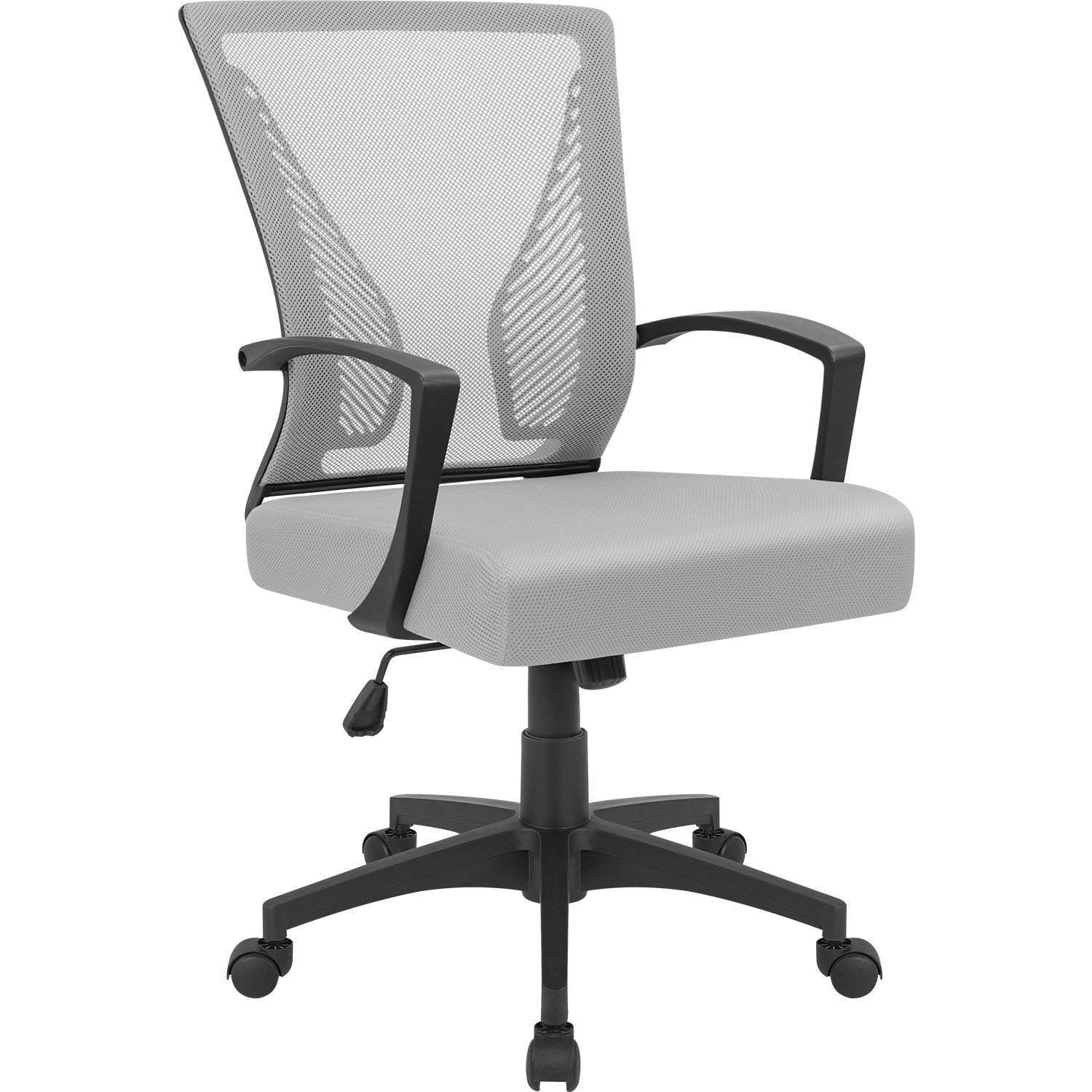 Furmax Gray7504 Office Mid Back Swivel Lumbar Support Desk, Computer Ergonomic Mesh Chair with Armrest (Gray) by Furmax