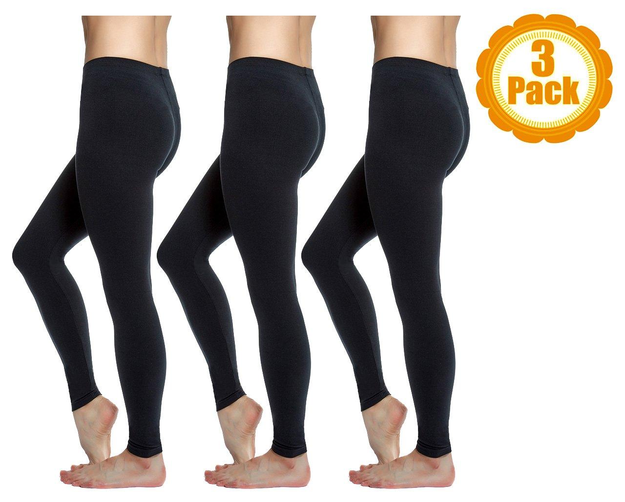 Love Charm Women's Super Soft Full Length Basic Leggings, Black, 3-Pack,M/L (Ladies 8-12)