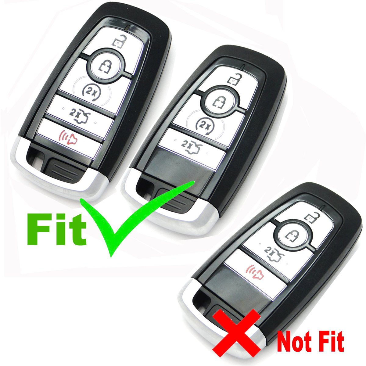 2Pcs Coolbestda Rubber 5buttons Smart Key Fob Full Protector Remote Skin Cover Case Keyless Jacket for 2017 Ford Fusion F250 F350 F450 F550 2018 Edge Explorer