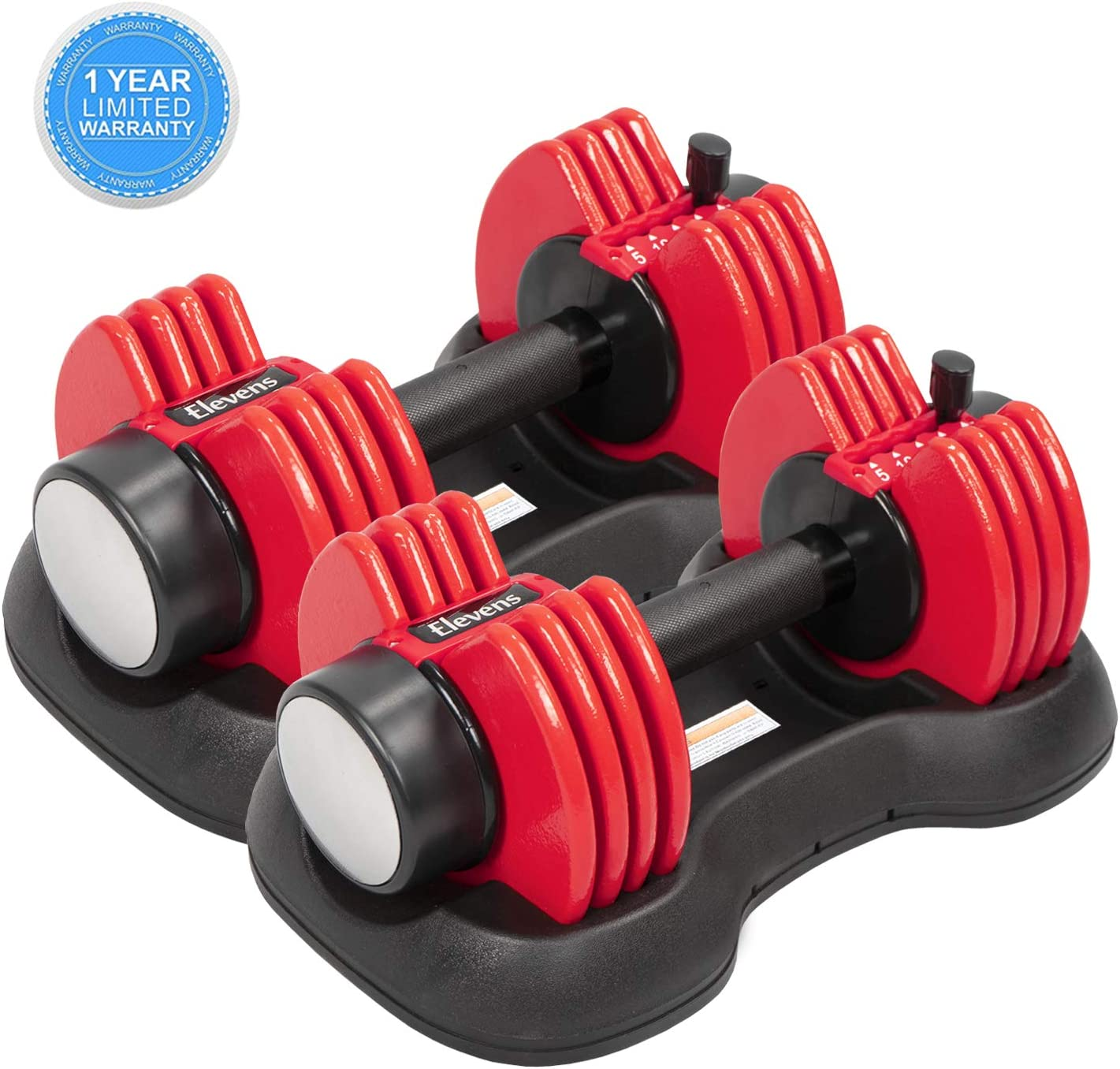 ELEVENS Adjustable Dumbbells – 27.5 lbs Weight Set with Handle and Weight Plate for Gym and Home, Black