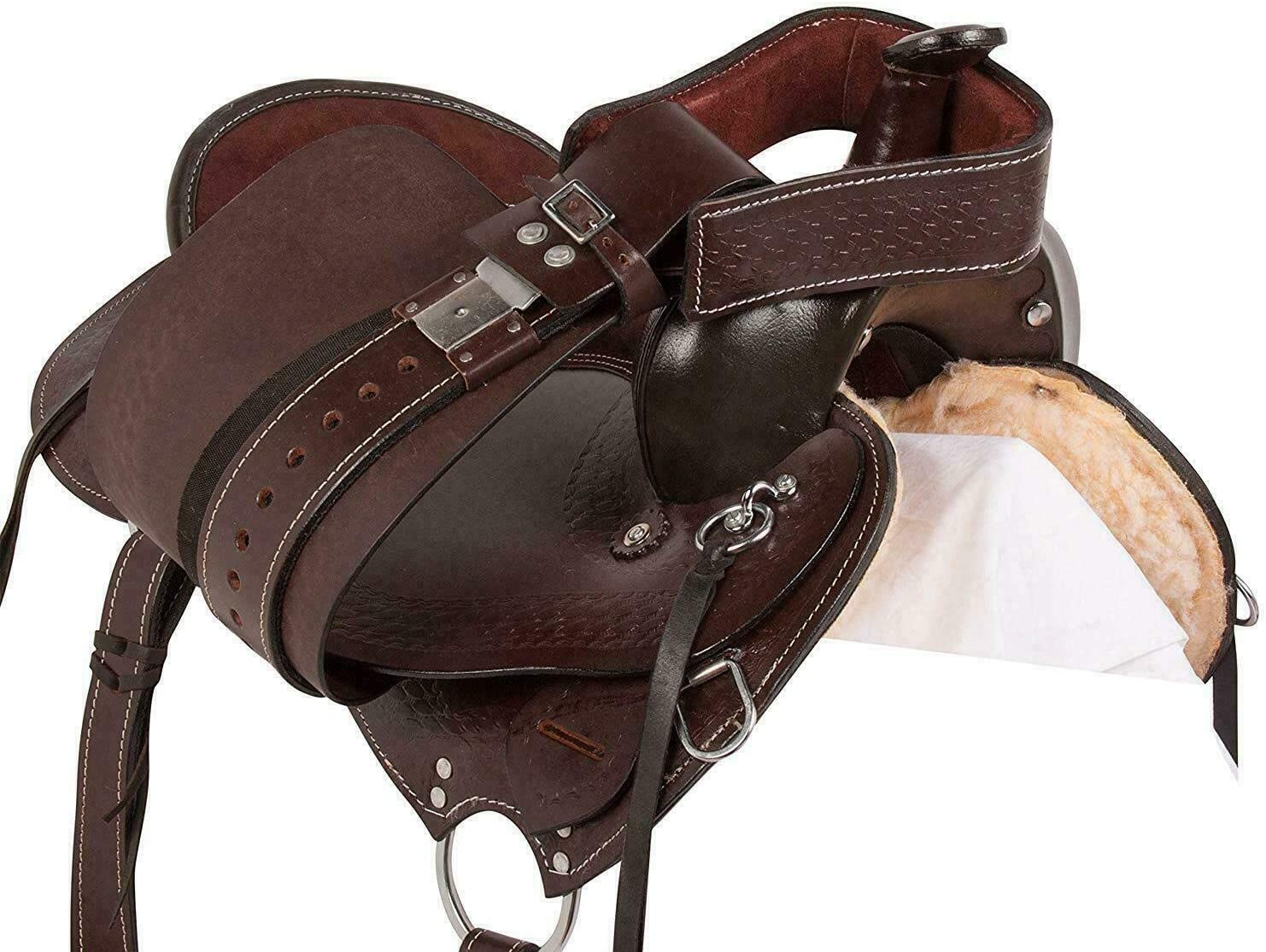 Blue Lake Premium Brown Gaited Leather Western Pleasure Trail Endurance Horse Saddle.