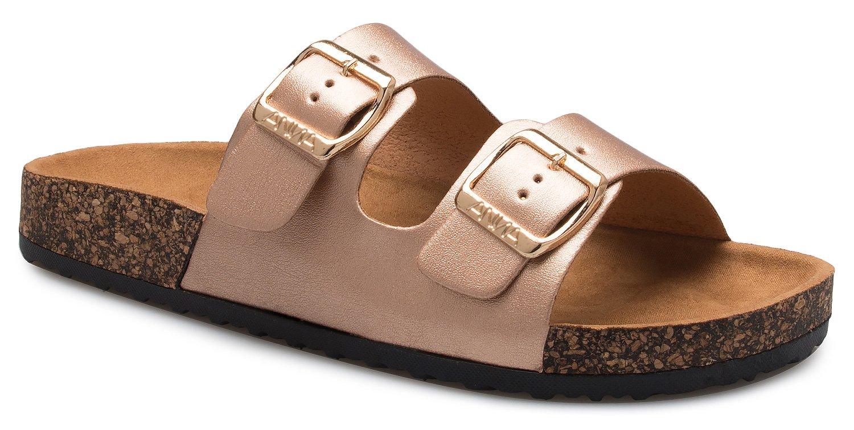 OLIVIA K Women's Summer Open Toe Double Buckle Strap Fashion Cozy Footbed Flat Sandals