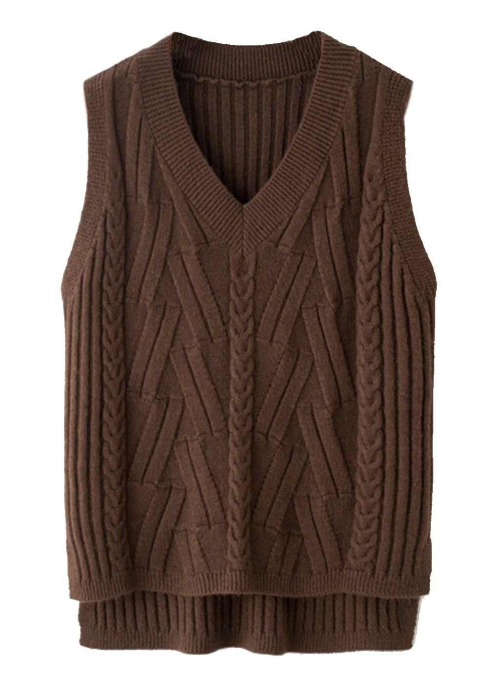 Hotmiss Women's Solid Color V Neck Sleeveless Pullover Knit Sweater Vest Tops One Size)