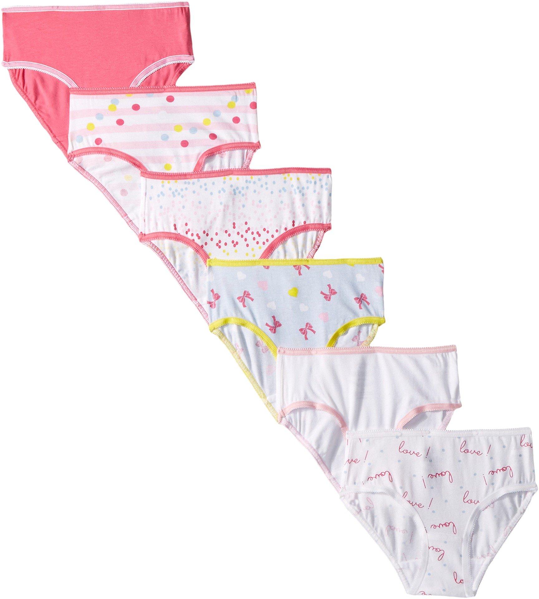 Trimfit Little Girls' Tagless Assorted Briefs Underwear (Pack of 6), Love Bows, Small/4-6