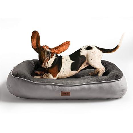 Bedsure Cama para Perros Pequeños Lavable M - Colchon Perro Cómoda de Felpa Muy Suave - Sofá de Perro 81x58x18cm,Gris