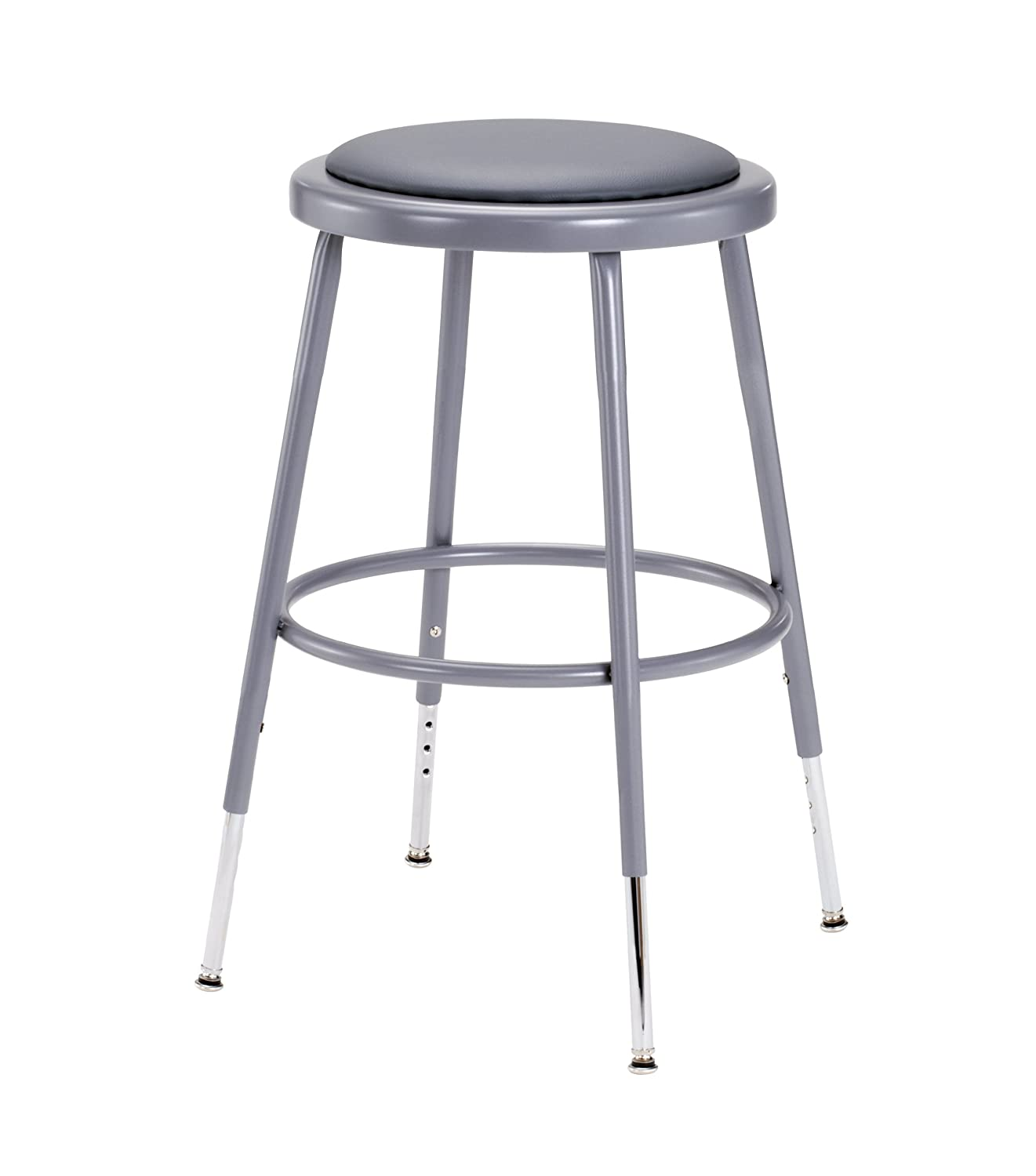 "National Public Seating 6418H 6418H Grey Steel Stool With Vinyl Upholstered Seat Adjustable, 19"" x 27"""