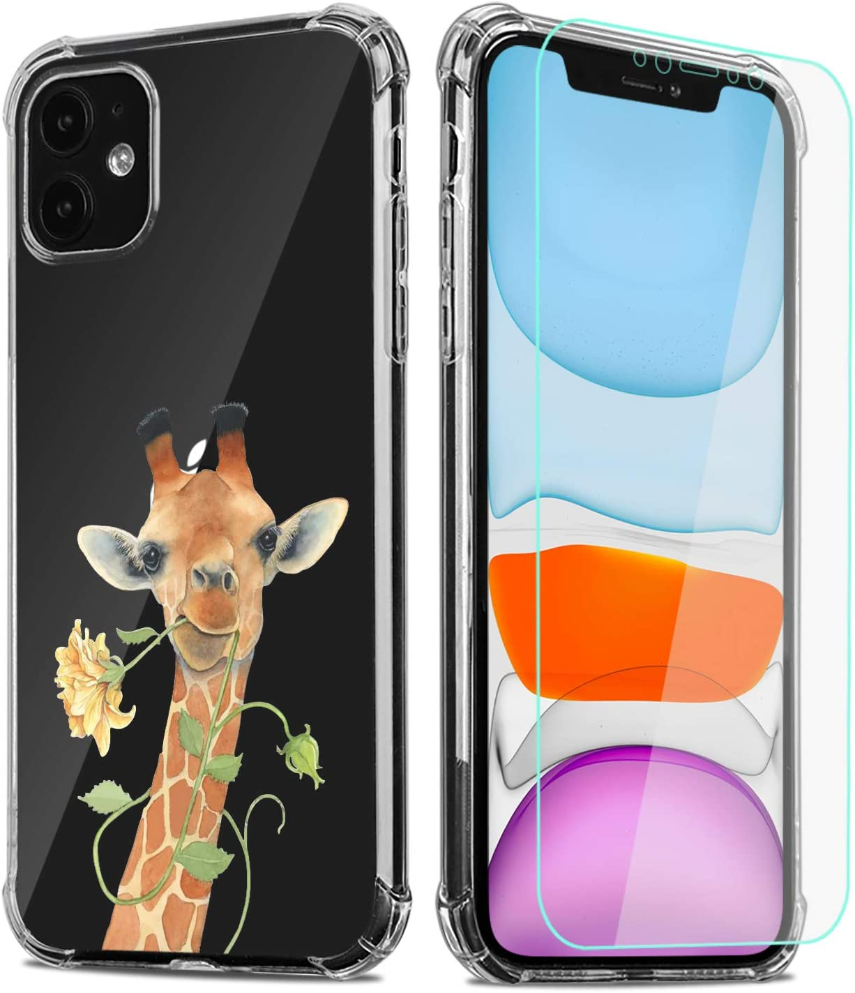 "Giraffe Phone Case for iPhone 11 with Screen Protector, Clear Giraffe Floral Pattern Soft & Flexible TPU Ultra-Thin Shockproof Transparent Bumper Protective Case for iPhone 11 6.1"" 2019(Giraffe)"
