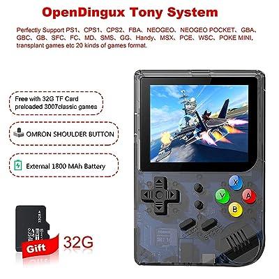 Anbernic Consola de Juegos portátil con Sistema Linux de Apertura Mejorada 2019, Retro con Tarjeta 32G TF incorporada en 3007 Juegos clásicos, Consola de Videojuegos Vidrio Templado de 3 Pulgadas de