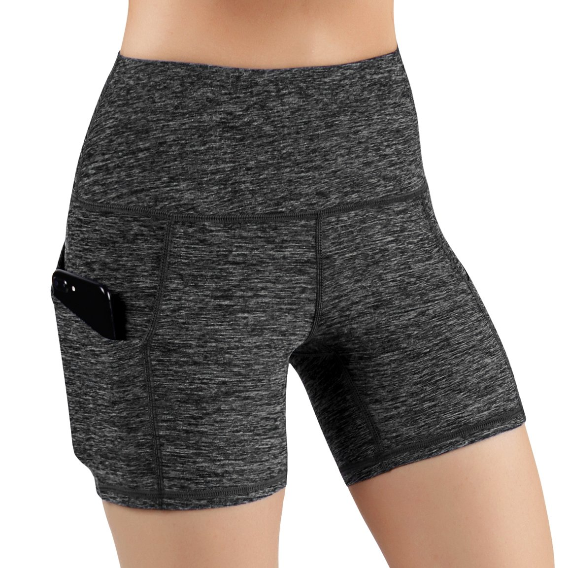ODODOS High Waist Out Pocket Yoga Short Tummy Control Workout Running Athletic Non See-Through Yoga Shorts,CharcoalHeather,X-Small