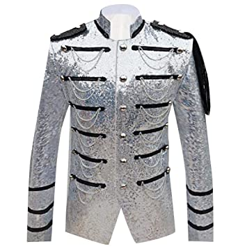 4355f63b4 NestYu Mens Oversized Individuality Single Breasted Sequin Blazer ...