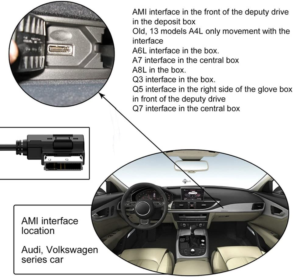AMI MMI MDI AUX Powering Cable for Audi Volkswagen 39 inch Fit for Audi VW Models with in Car Media Interface Compatible with Xs Max Xs XR 8 7 6 Plus