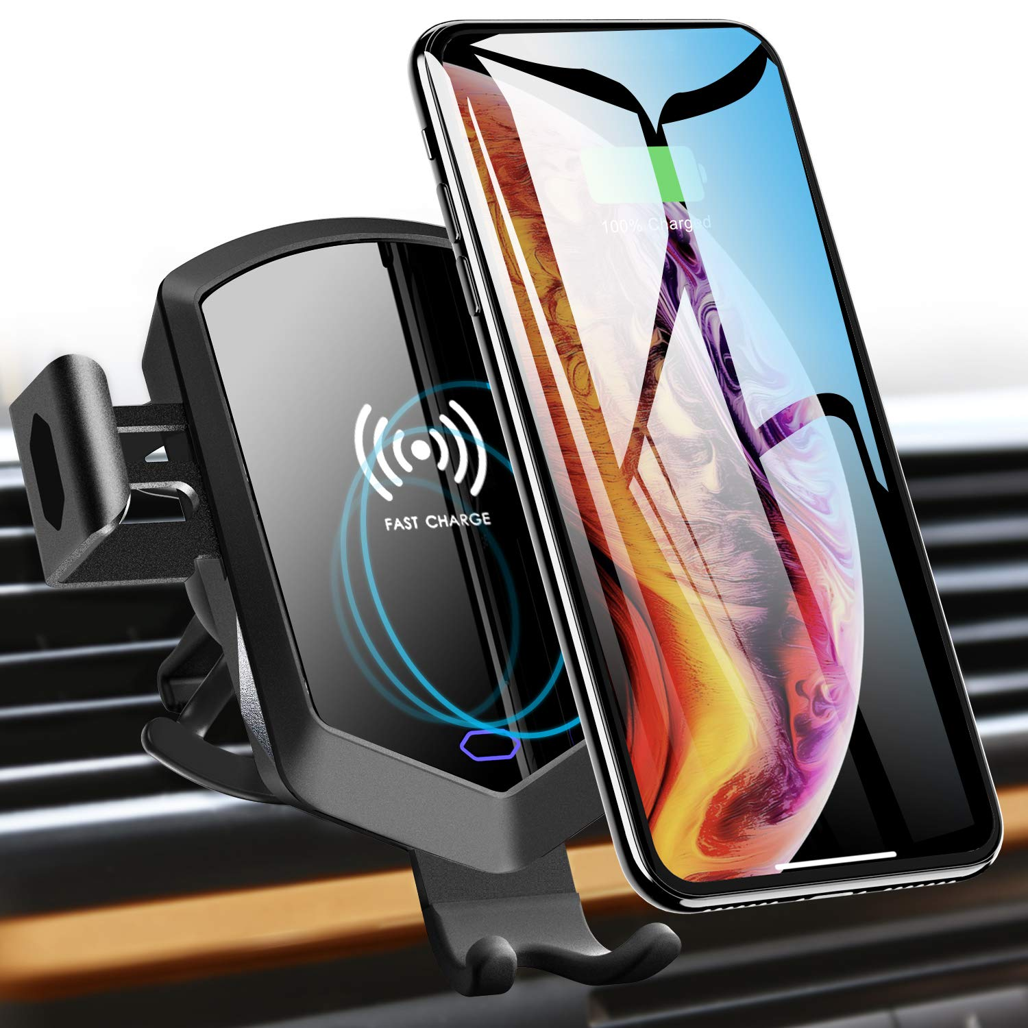 TOZO Wireless Car Charger Motor Clamping Silent Mount Holder Auto Sensing Fast Charging for iPhone Xs/XR/Xs Max/X/10/8/8 Plus, Samsung Galaxy S8 S8 S9 S9 S10 S10 Note 8, 9 [Black]