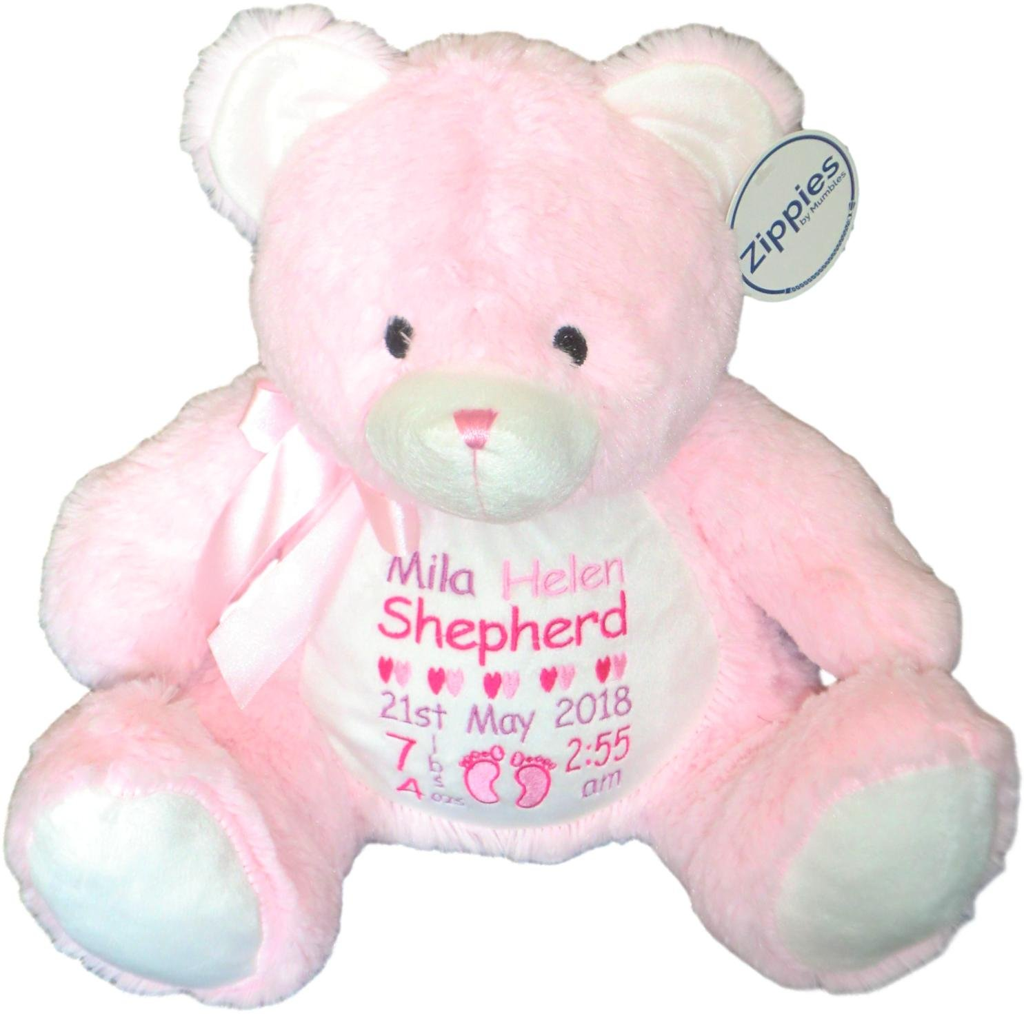 Personalised Teddy Bear New Baby Girl Gift Newborn Baby Shower Pink Teddies