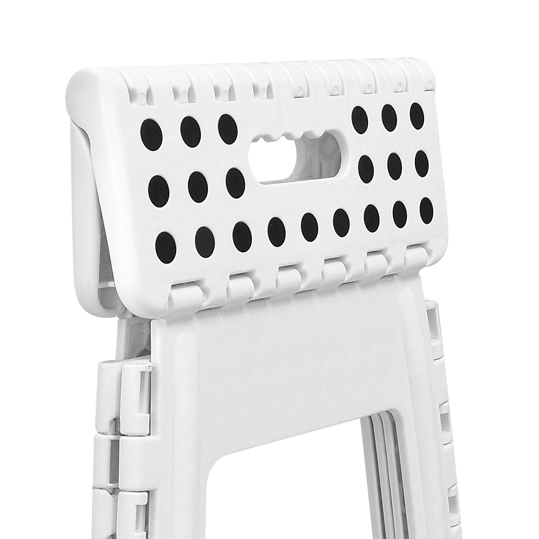 ASAB Large Folding Foot Step Stool Multi Purpose Plastic Foldable Easy Storage Home Kitchen White