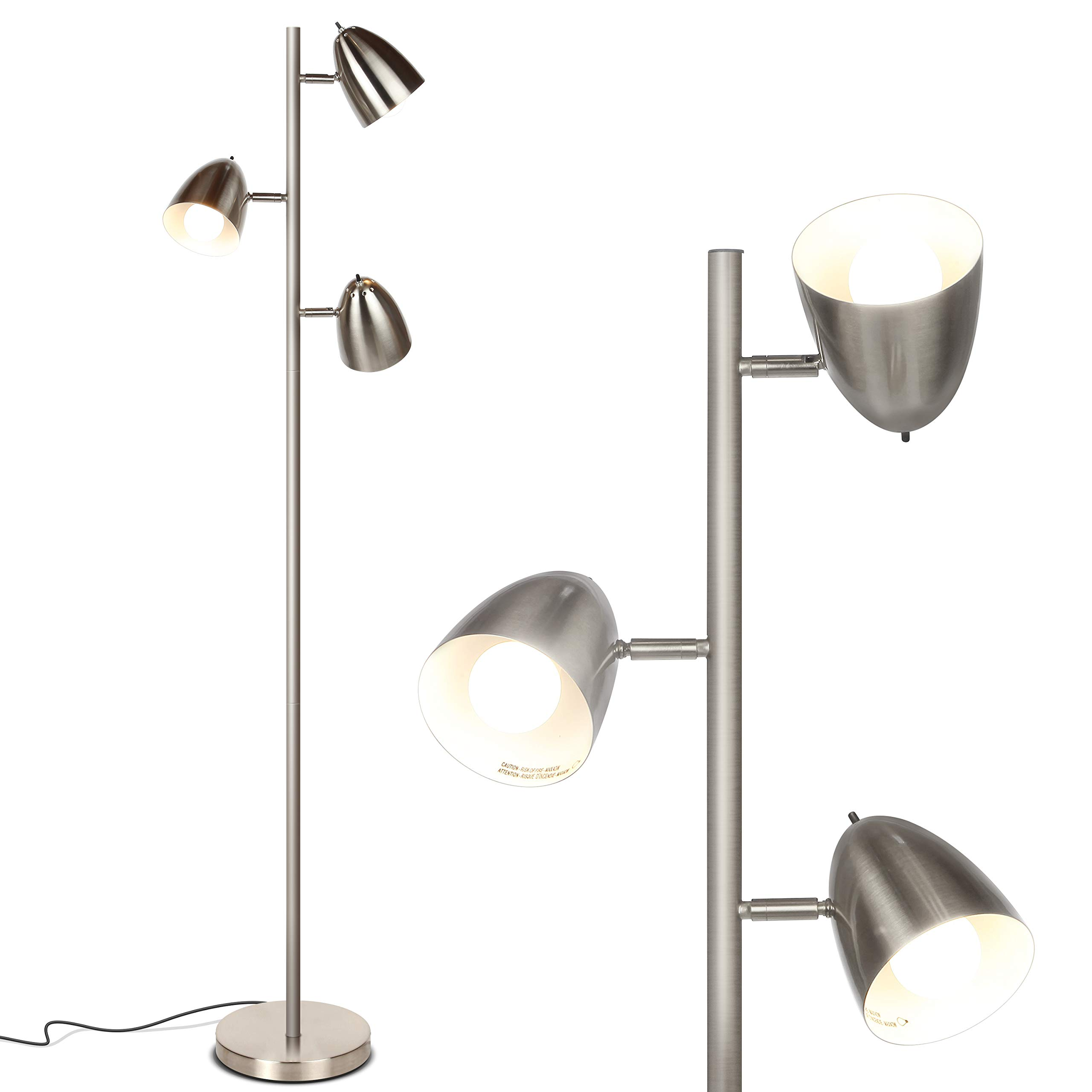 Brightech Jacob - LED Reading and Floor Lamp for Living Rooms & Bedrooms - Classy, Mid Century Modern Adjustable 3 Light Tree - Standing Tall Pole Lamp with 3 LED Bulbs - Satin Nickel