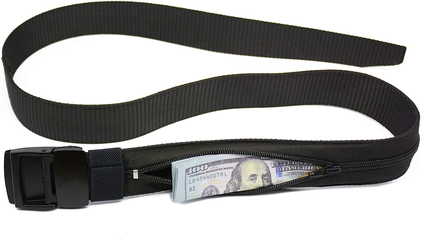 Men Nylon Travel Security Belt Hiker Military Style With Web Breathable Tactical Money Pouch Black and Brown Plastic Buckle