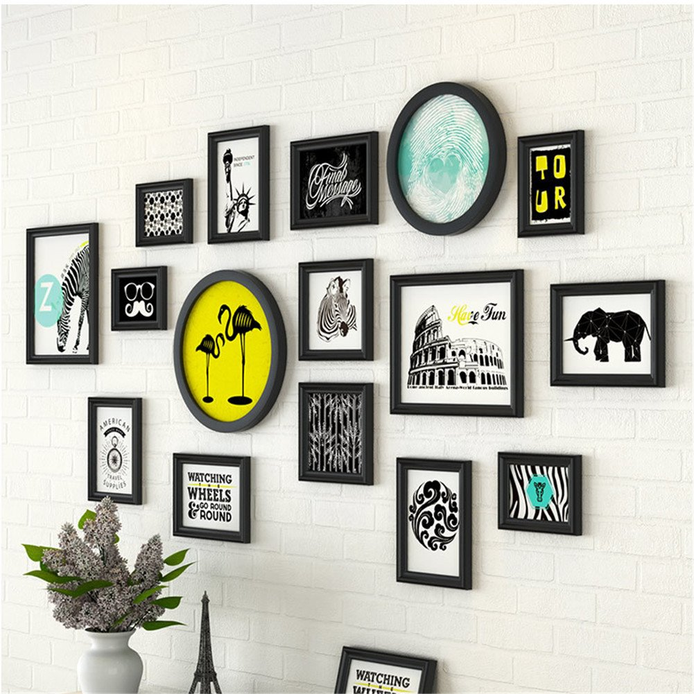 16 Pcs/Set Different Shape Solid Wood Picture Frame Wall with Different Style Picture Elements Modern Art Decor (Black with Travelling Animals Prints)