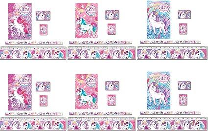 KINPARTY ® - 6 Pack de material escolar de Unicornio - Incluye: 1 ...