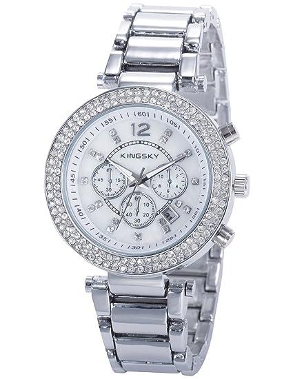 EASTPOLE WAA858 - Reloj Mujer de Cuarzo, Correa de Aleaciš®n Plateado: Amazon.es: Relojes