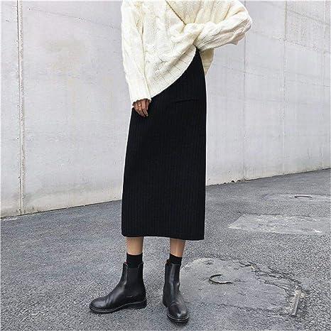 YUCH Falda De Punto De Cintura Alta para Mujer Falda De Glúteos ...