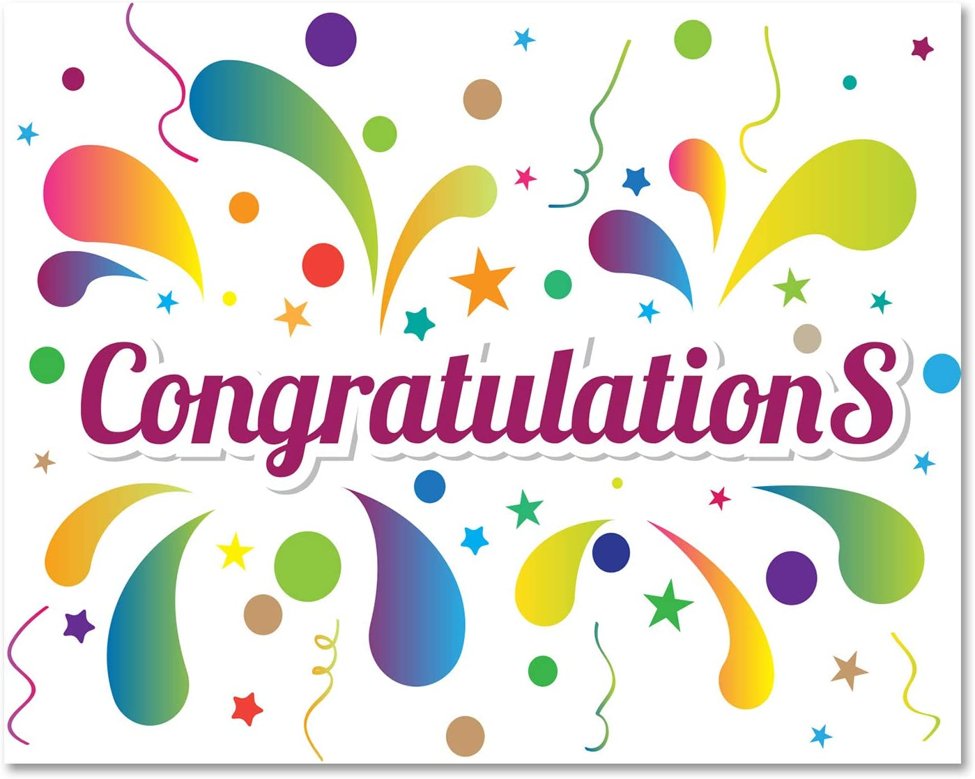 Amazon.com : Congratulations Greeting Cards - Colorful - Blank on ...
