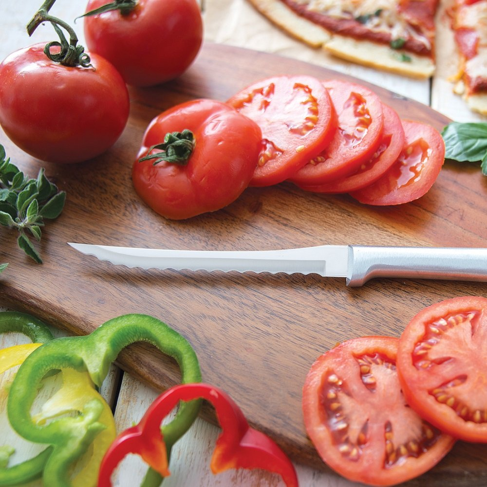 Rada Cutlery Tomato Slicing Knife Stainless Steel Blade With Aluminum Handle Made In Usa 8 7 8 Inches