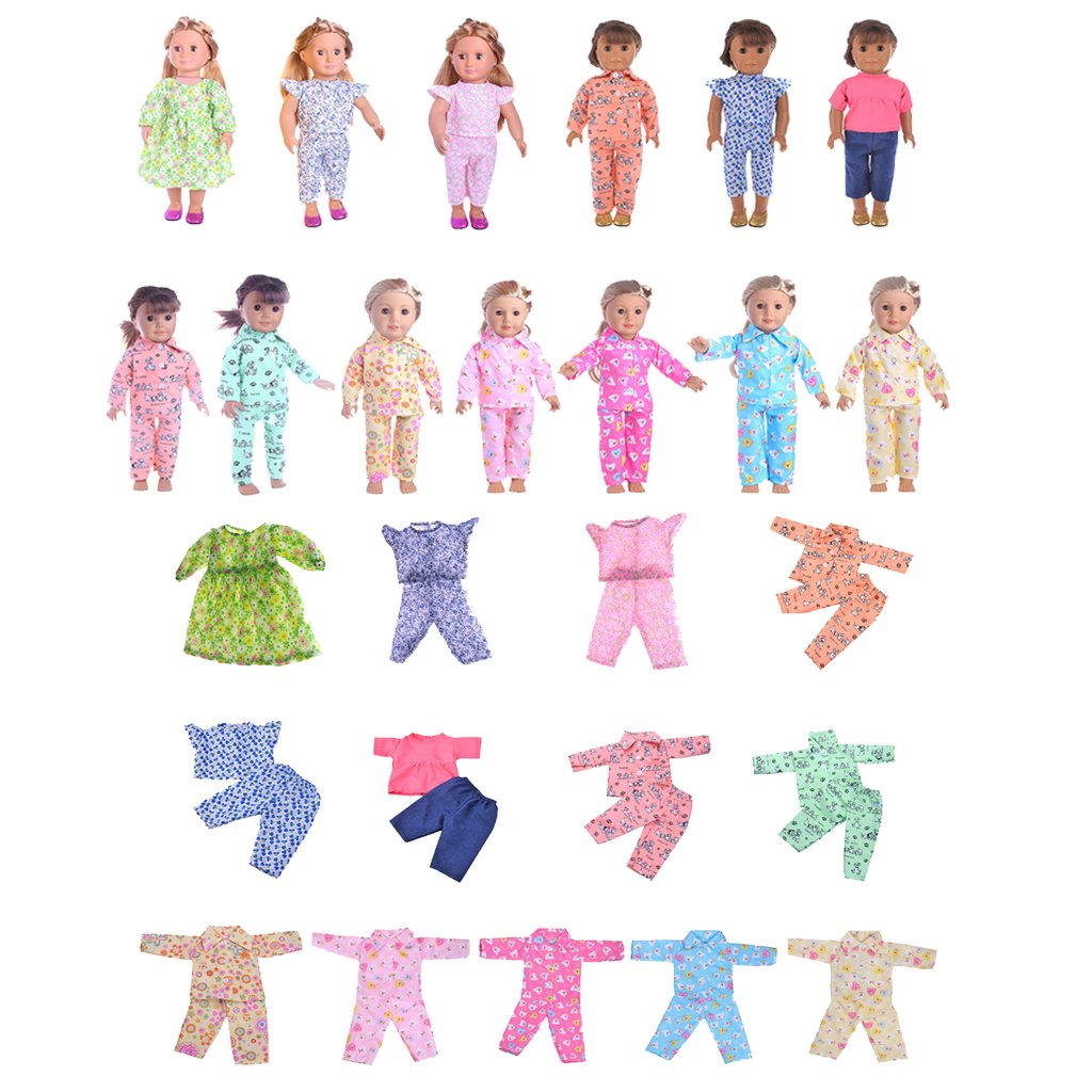f2acf7252a4e MagiDeal Floral Sans Manches Chemise Pantalons Tenue Pour 18 American Girl  B éb é N é ...