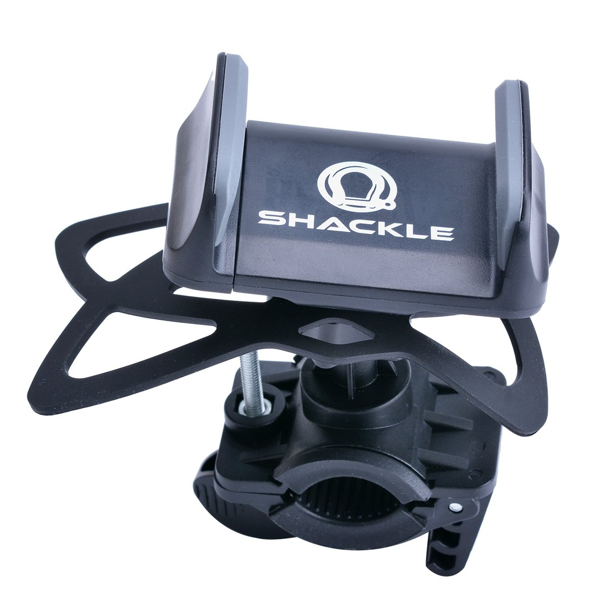 Cell Phone Bike Mount, Shackle Universal Cradle Clamp for iOS Android Smartphone GPS other Devices, 360 Degrees Rotatable, 3xSilicon Straps