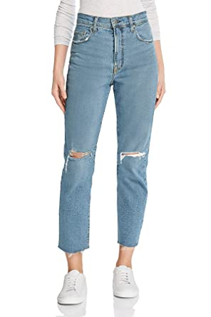 140368a6ddd MONYRAY Cropped Flare Distressed Pants high Waisted Juniors Slim Boyfriend  Jeans Women Light Blue Knee Ripped