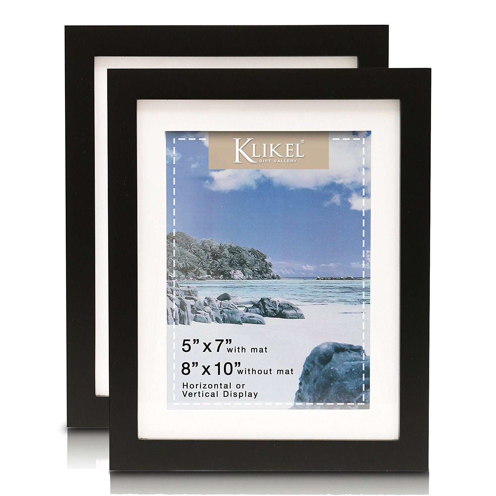 Klikel 5 X 7 Matted Black Picture Frame (8 X 10 Without Mat) - Solid Wood Wall Hanging And Table Standing Picture Frame, Set of 2
