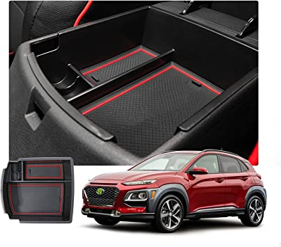 SKTU Center Console Organizer Customized for 2018 2019 2020 Kona Insert ABS Black Materials Tray Armrest Box Glove Secondary Storage Box with Coin and Glass Holder Green