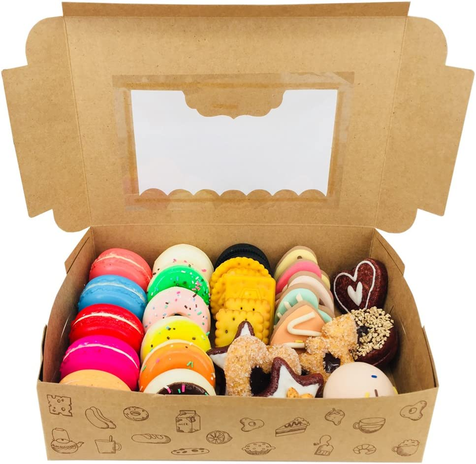 Chilly Treat Pastry Cookie Biscuits Box With Window, Decorative Homemade Baking Goods Bakery Muffins Chocolate Brownies Gift Boxes, 8.9x5.7x2.4 Inch, Pack of 12 (Treat Boxes)