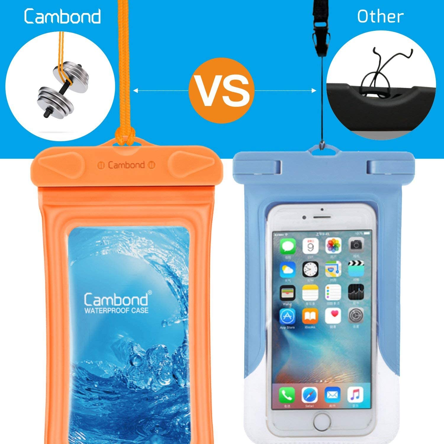 Floating Water Proof Cell Phone Case Both Sides Clear Dry Bag for iPhone 11//XS Max//XR//X//8//7 Plus Galaxy Up to 6.5 4 Pack Snorkeling Cruise Ship Kayaking Cambond Floatable Waterproof Phone Pouch