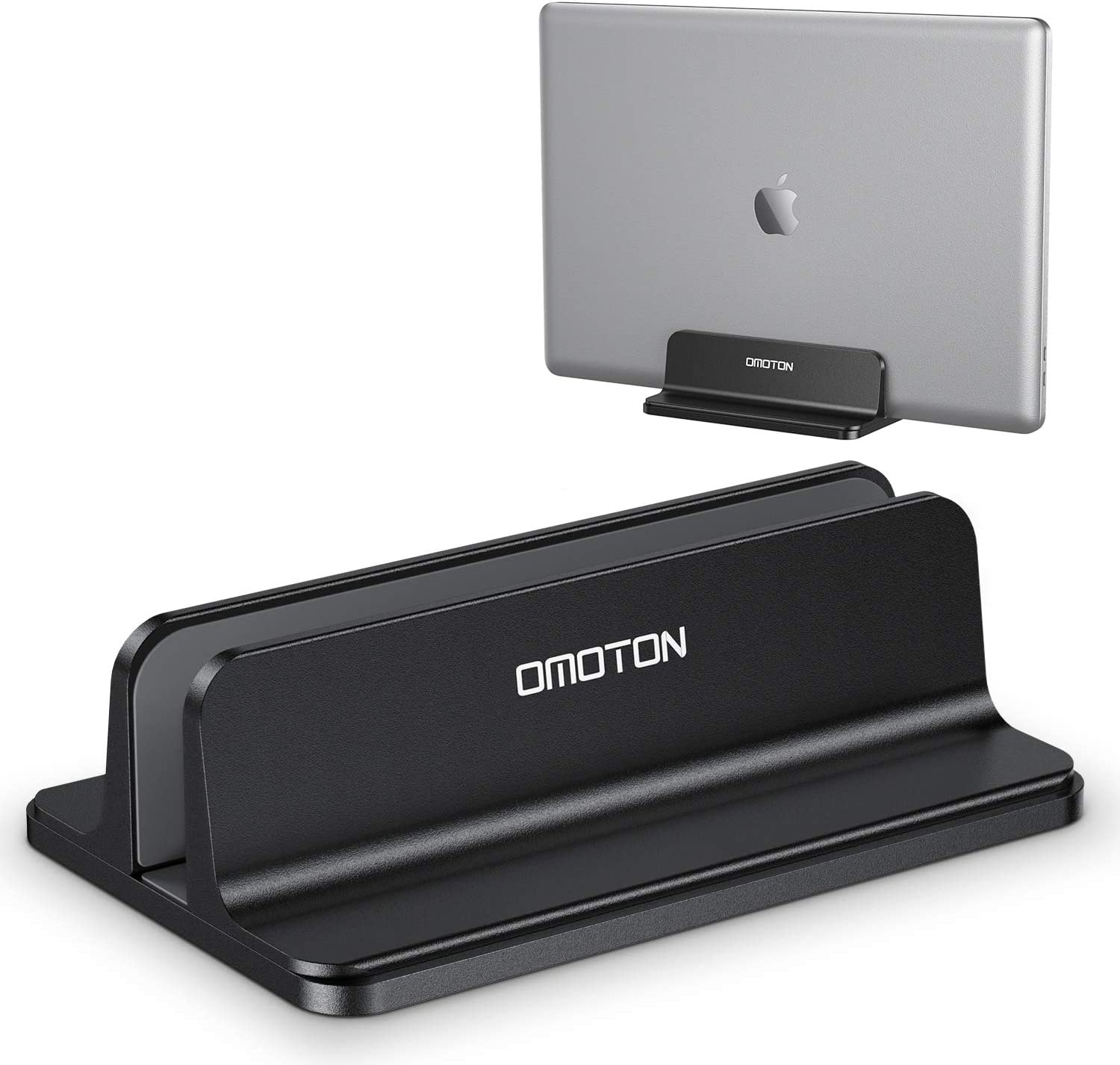Vertical Laptop Stand, OMOTON MacBook Stand with Adjustable Dock Size, Fits All MacBook, Surface, Chromebook and Gaming Laptops(Up to 17.3 inch),Black