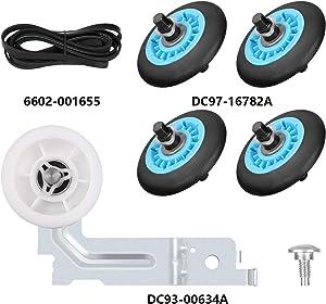 Dryer Repair Kit for Samsung Belt dryer Kit Include DC97-16782A Drum Roller,6602-001655 Drum Belt,DC93-00634A Dryer Idler Pulley Replace AP5325135, AP4373659, AP6038887,PS4221885 PS4133825,DC96-00882C